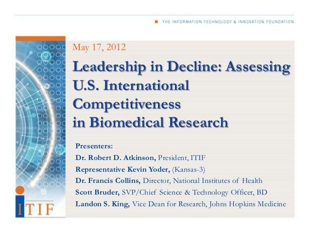 Leadership in Decline: Assessing U.S. International Competitiveness in Biomedical Research