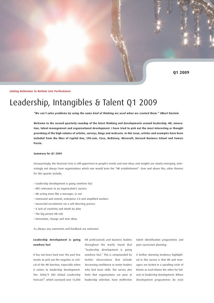 """Q1 2009    Linking Behaviour to Bottom Line Performance    Leadership, Intangibles & Talent Q1 2009                  """"We c..."""