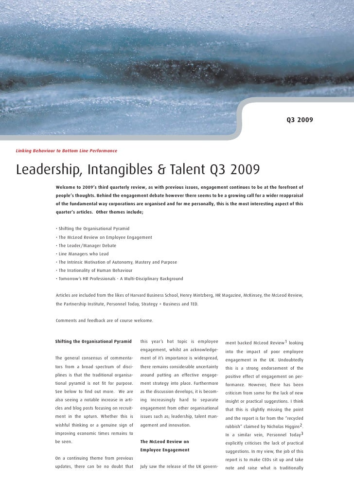Q3 2009    Linking Behaviour to Bottom Line Performance    Leadership, Intangibles & Talent Q3 2009                  Welco...