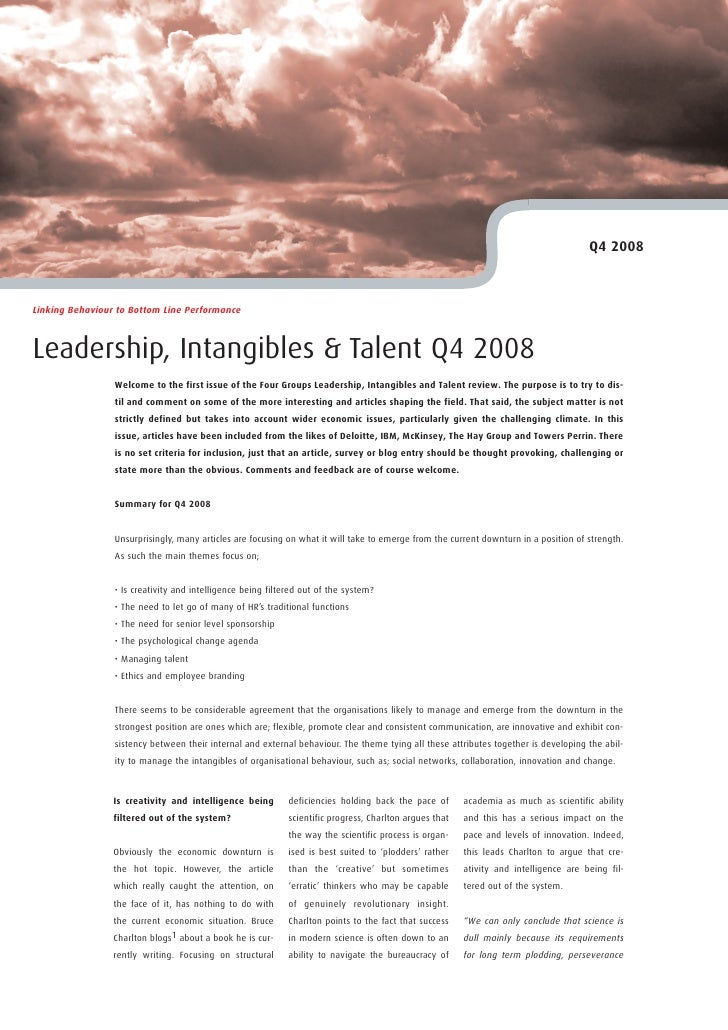 Q4 2008    Linking Behaviour to Bottom Line Performance    Leadership, Intangibles & Talent Q4 2008                  Welco...