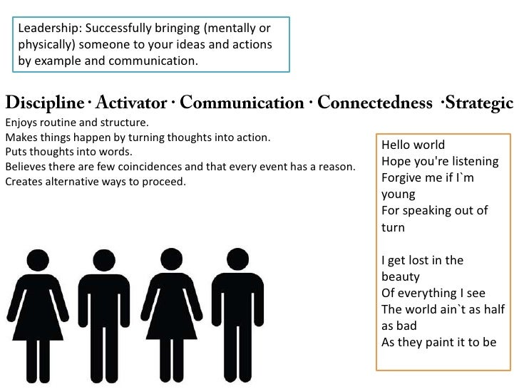 Leadership: Successfully bringing (mentally or physically) someone to your ideas and actions by example and communication....
