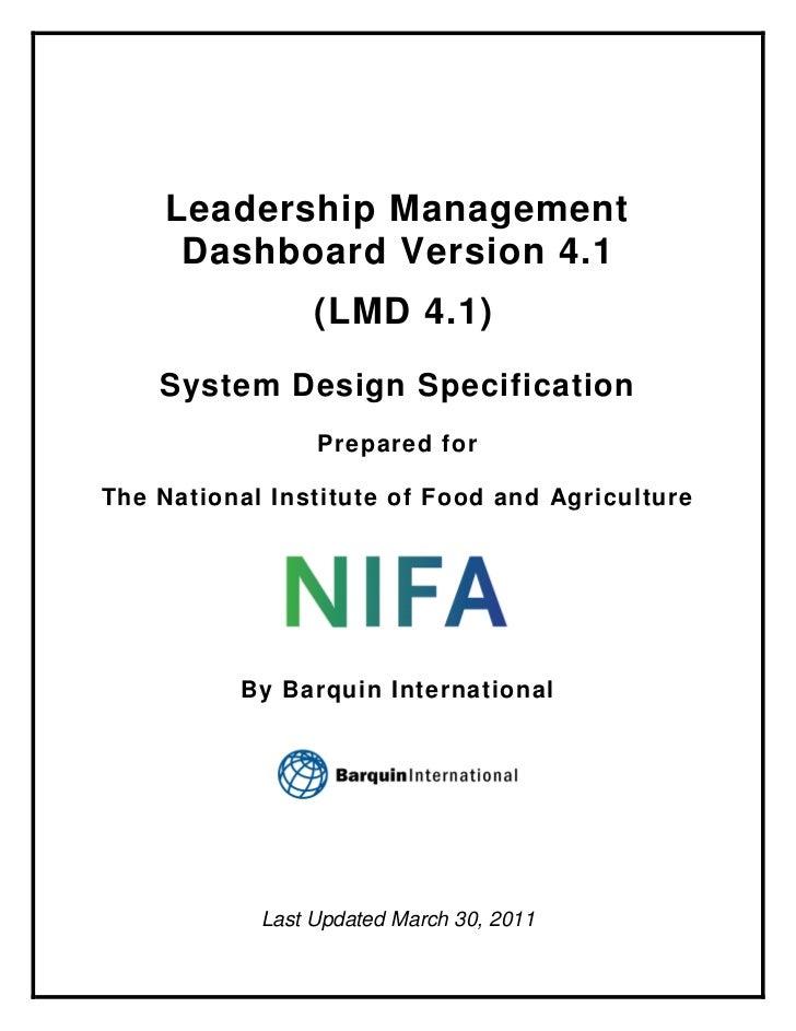 Leadership Management     Dashboard Version 4.1                 (LMD 4.1)    System Design Specification                 P...