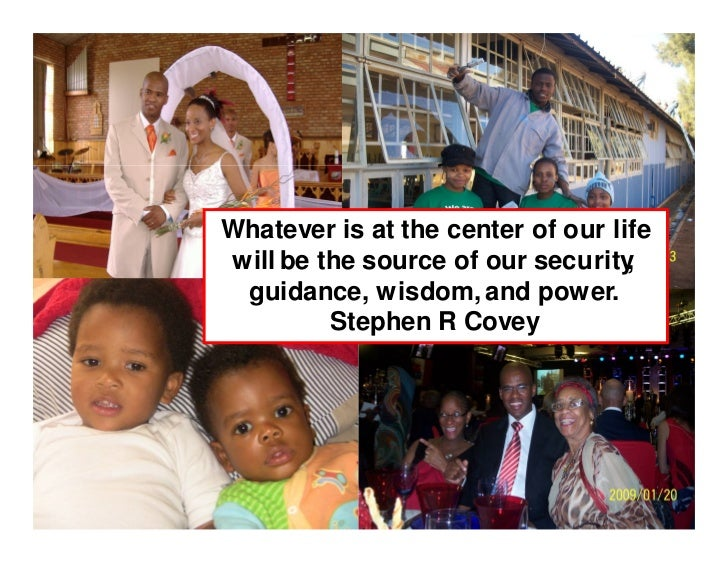 Whatever is at the center of our life will be the source of our security ,  guidance, wisdom, and power.          Stephen ...
