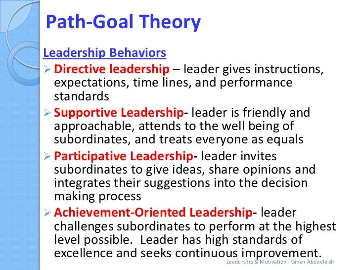 path goal theory leadership 116 leadership theory and practice followers goal(s) (productivity) path–goal leadership • defines goals • clarifies path • removes obstacles.
