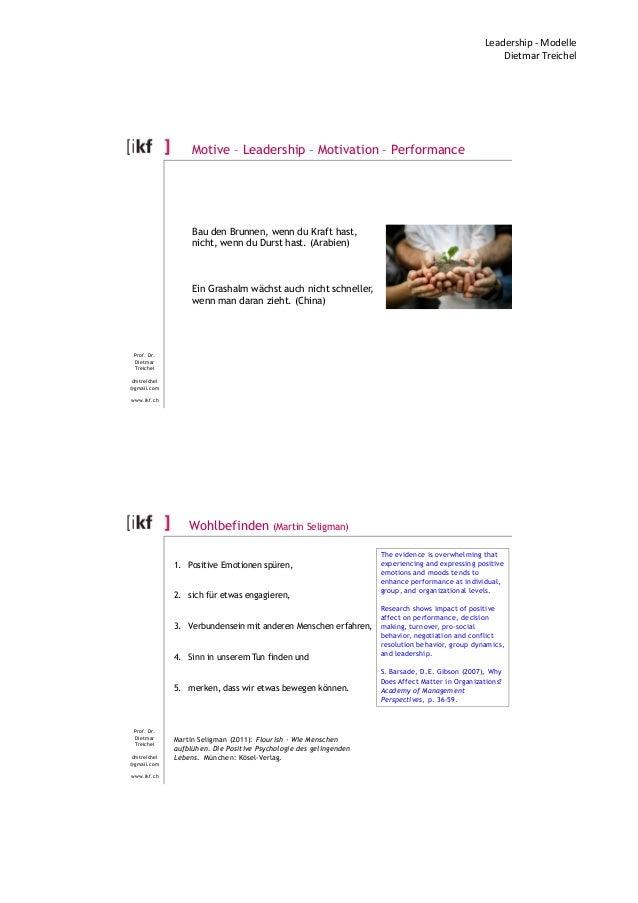 Leadership - Modelle Dietmar Treichel Prof. Dr. Dietmar Treichel dmtreichel @gmail.com www.ikf.ch Motive – Leadership – Mo...