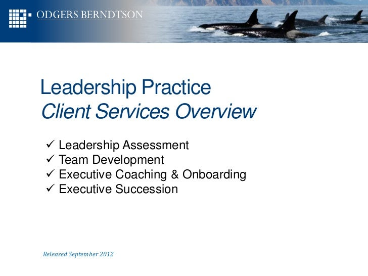 Leadership PracticeClient Services Overview Leadership Assessment Team Development Executive Coaching & Onboarding Exe...