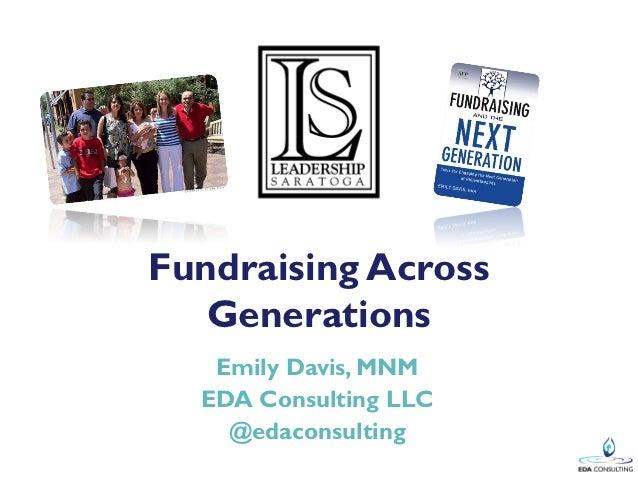 Fundraising Across   Generations   Emily Davis, MNM  EDA Consulting LLC    @edaconsulting
