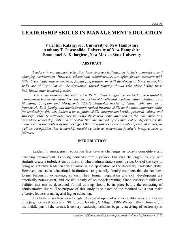 Leadership Skills In Management Education