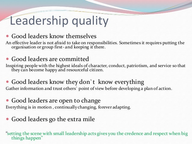 what leadership means essay