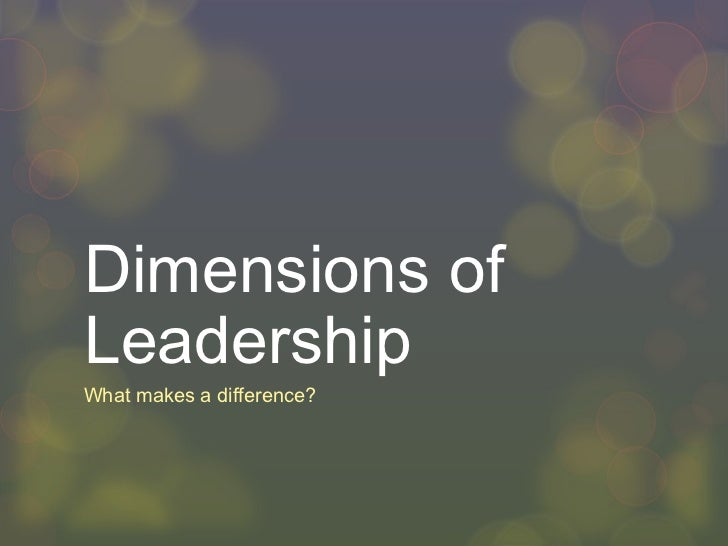 Dimensions of Leadership What makes a difference?