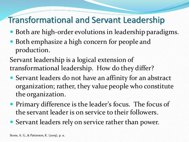 transformational servant leadership Compares the impact of servant leadership on volunteer motivation within church  congregations with the impact of transformational leadership and transactional.