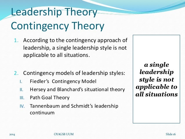 contingency theory leadership term paper Situational contingency theory recognizes that leadership in a board room setting uses a different skill set than leadership in the accounting department of the same company theorists seek to define how a successful leader alters leadership tactics to fit communications with the different levels of a.