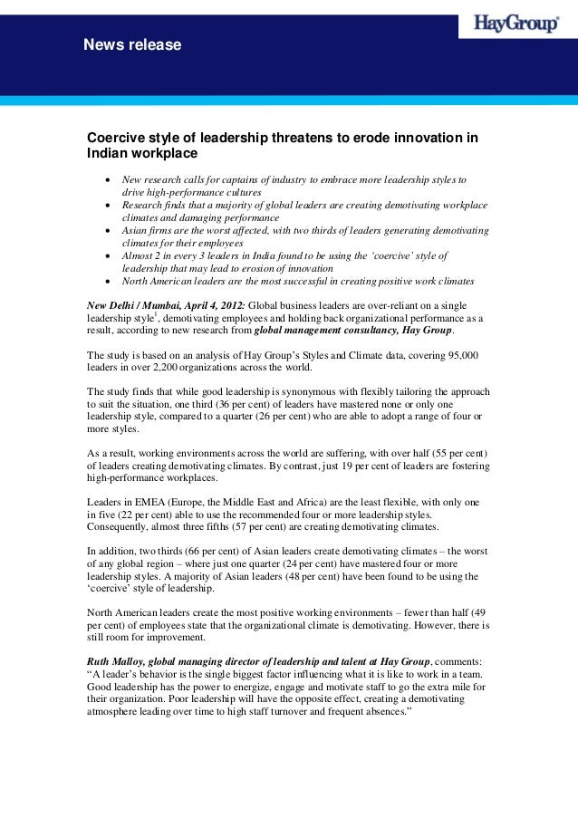 News releaseCoercive style of leadership threatens to erode innovation inIndian workplace       New research calls for ca...