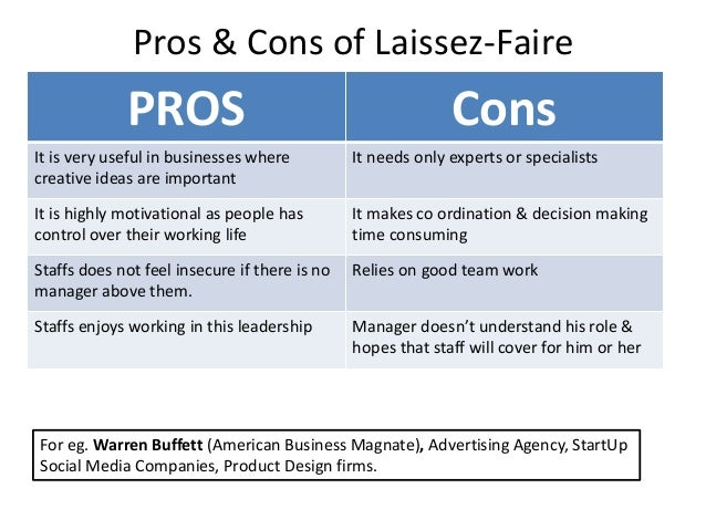 advantages of laissez faire leadership There are several emotional leadership styles, all with their advantages and disadvantages leadership styles such as autocratic, democratic, coaching and laissez-faire leadership can be used by managers and team leaders.