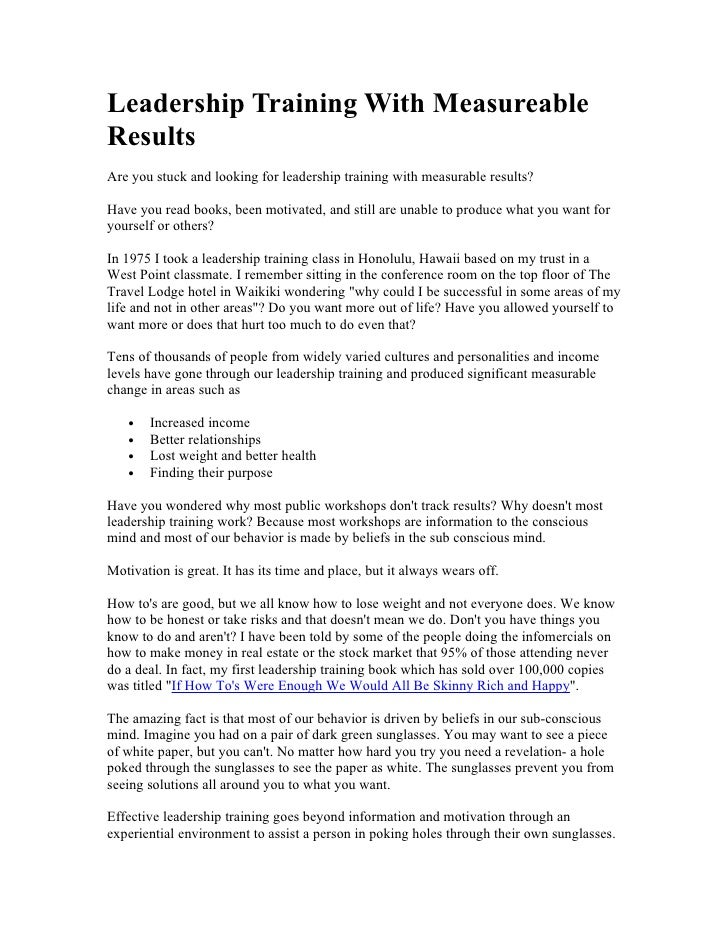 Leadership Training With Measureable Results Are you stuck and looking for leadership training with measurable results?  H...