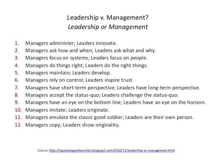 essay managers vs leaders Leadership vs management the biggest difference between managers and leaders is the way they motivate the people who work or follow them, and this sets the tone for.