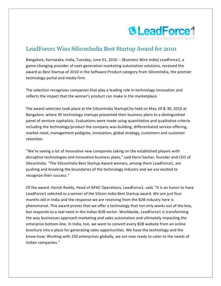 LeadForce1 Wins SiliconIndia Best Startup Award for 2010