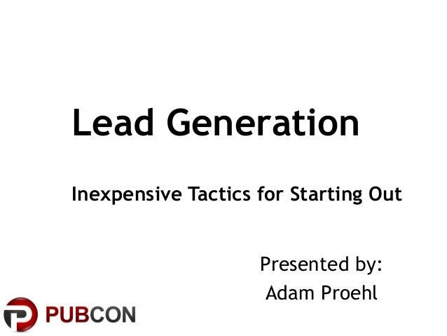 Lead Generation: Inexpensive Tactics