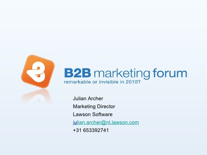 Julian Archer Marketing Director  Lawson Software  j u [email_address] +31 653392741