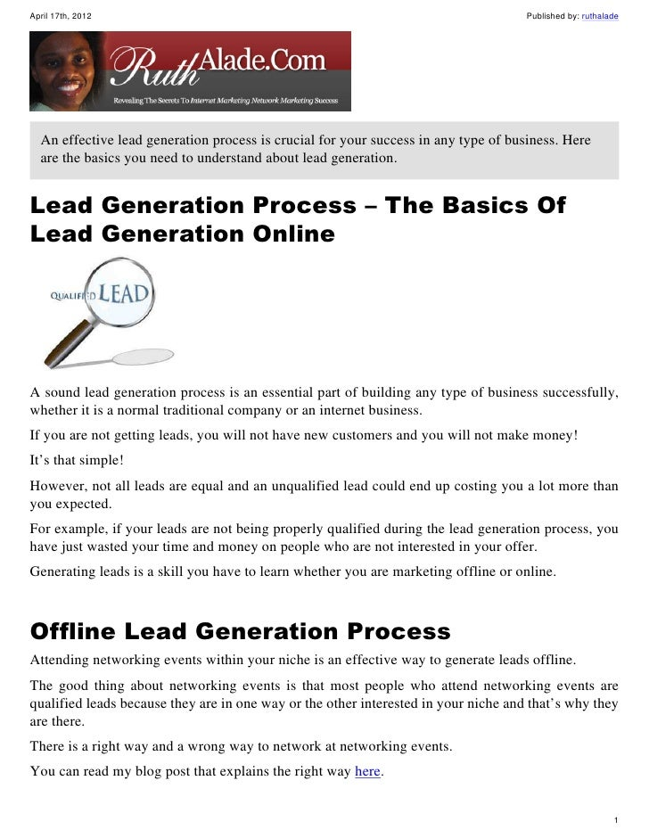 Lead Generation Process - The Basics of Effective Lead Generation On The Internetand