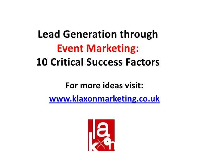 Lead Generation Through Event Marketing