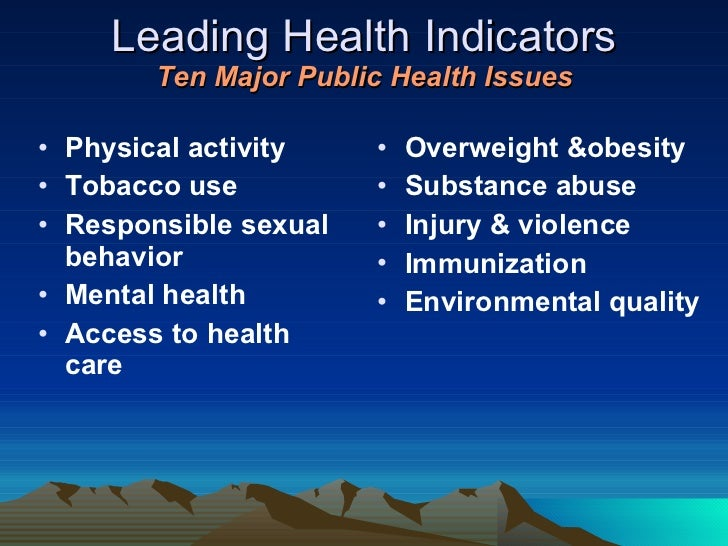 Leading Health Indicators Ten Major Public Health Issues <ul><li>Physical activity </li></ul><ul><li>Tobacco use </li></ul...