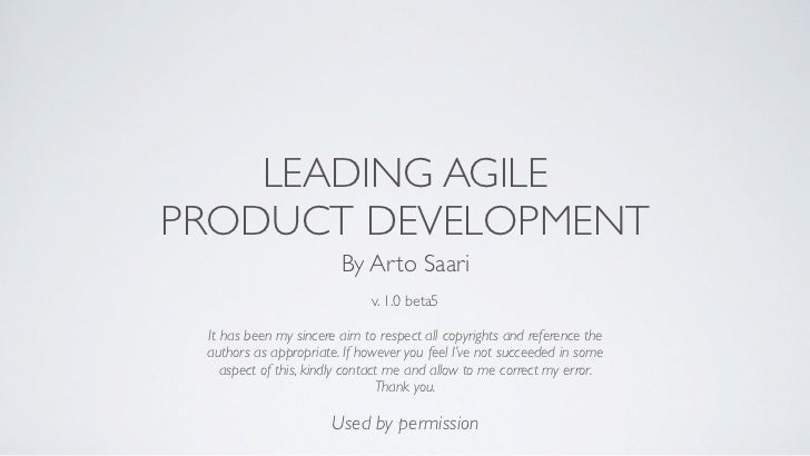 Leading agile product development