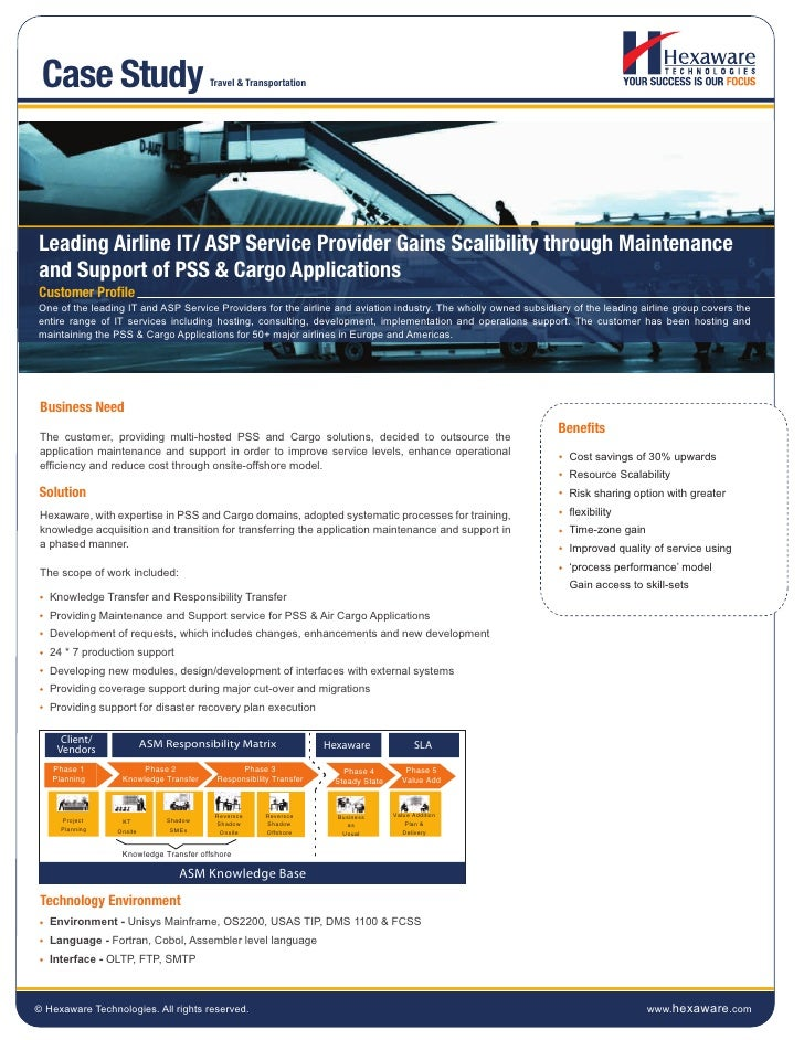 Case Study                             Travel & TransportationLeading Airline IT/ ASP Service Provider Gains Scalibility t...