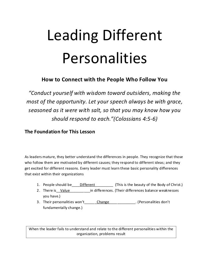 "Leading Different               Personalities          How to Connect with the People Who Follow You ""Conduct yourself wit..."
