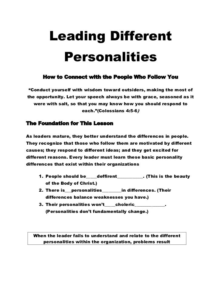 "Leading Different                Personalities       How to Connect with the People Who Follow You ""Conduct yourself with ..."