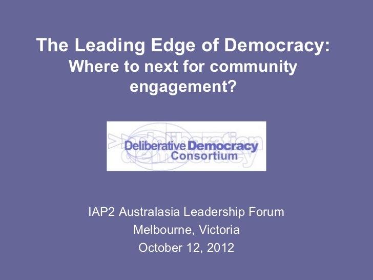 Leading edge of democracy - IAP2 Australasia Leadership Forum