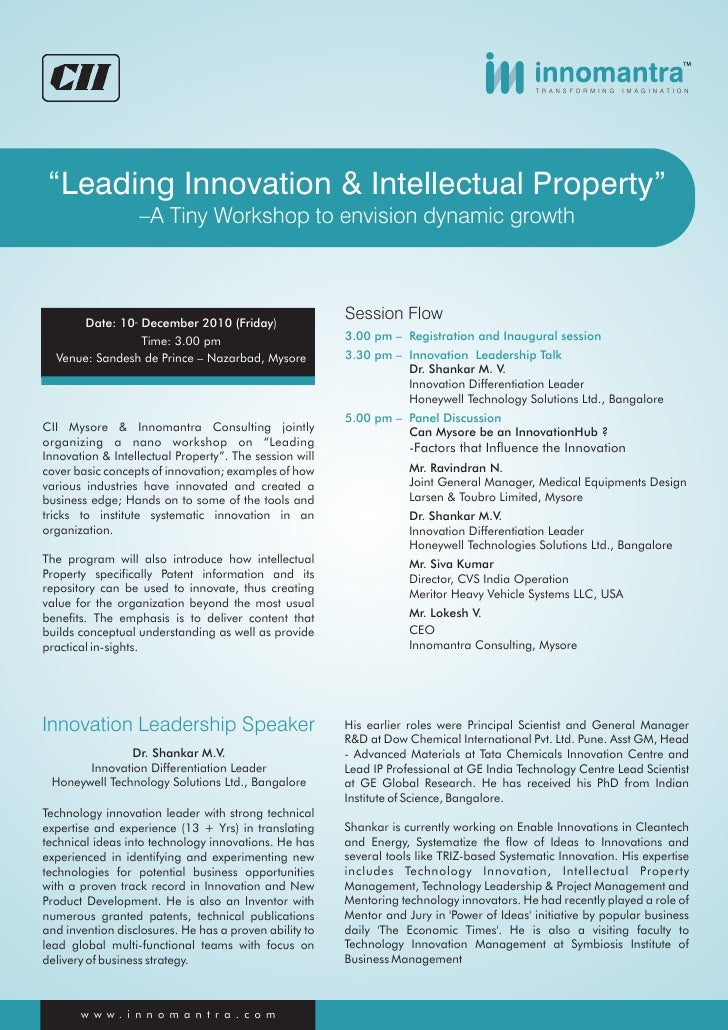 CII's - Innomantra Workshop on Leading Innovation & Intellectual Property, Mysore, India