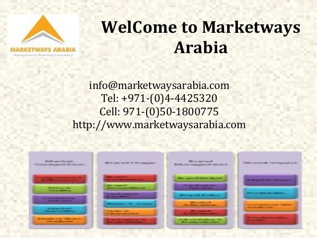 WelCome to Marketways Arabia info@marketwaysarabia.com Tel: +971-(0)4-4425320 Cell: 971-(0)50-1800775 http://www.marketway...