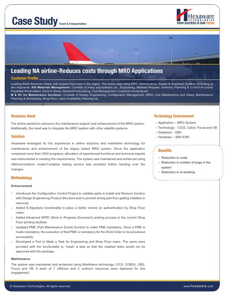 Leading na airline reduces costs through mro applications