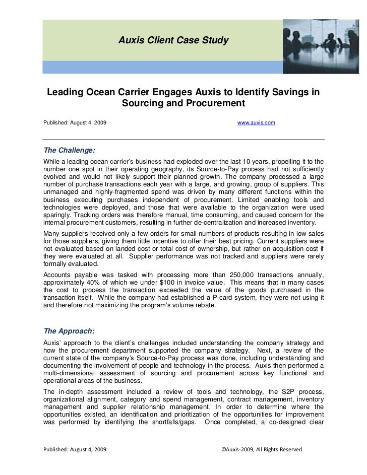 ocean carriers case 2 essay When gaining insights from all data available for carriers and shippers, benchmarking is not the end all for a transportation cost analysis white papers case.