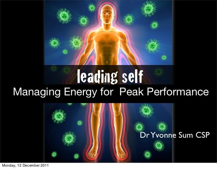 Leading Self  Managing Energy For Peak Performance Mba