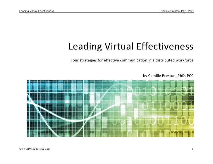 Leading Virtual Effectiveness: Four Strategies for Effective Communication