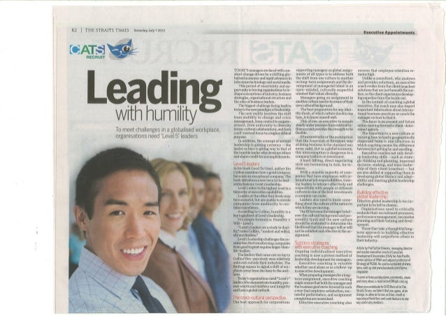 Leading with Humility  - ST 7 July 2012
