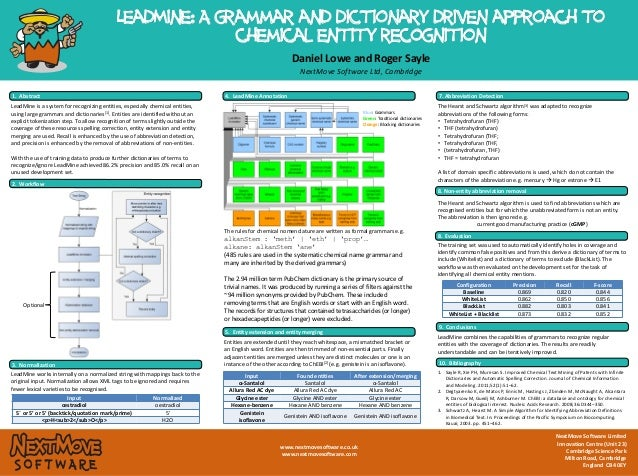 LeadMine: A grammar and dictionary driven approach to chemical entity recognition