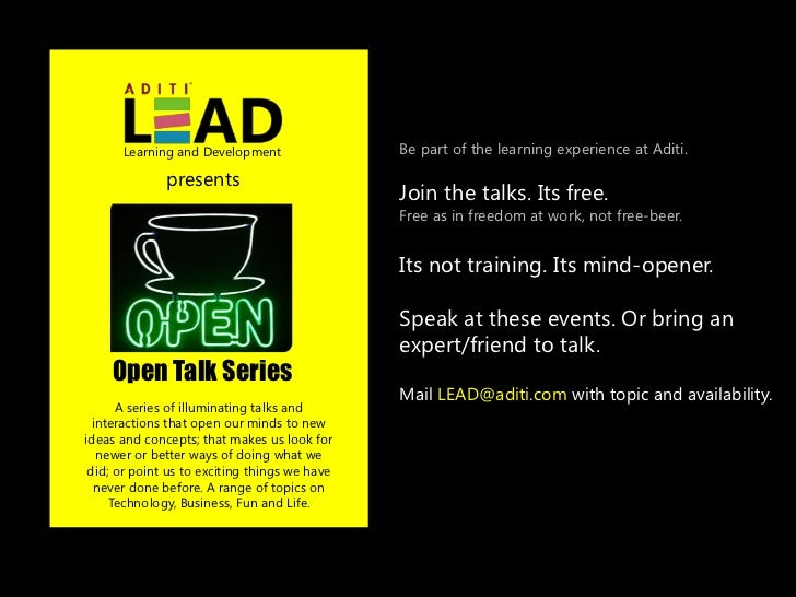 Learning and Development                 Be part of the learning experience at Aditi.              presents               ...