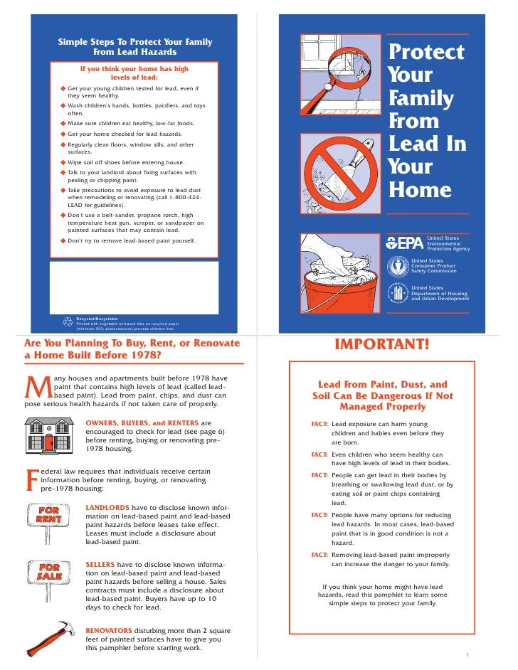 Simple Steps To Protect Your Family                   From Lead Hazards                                                   ...
