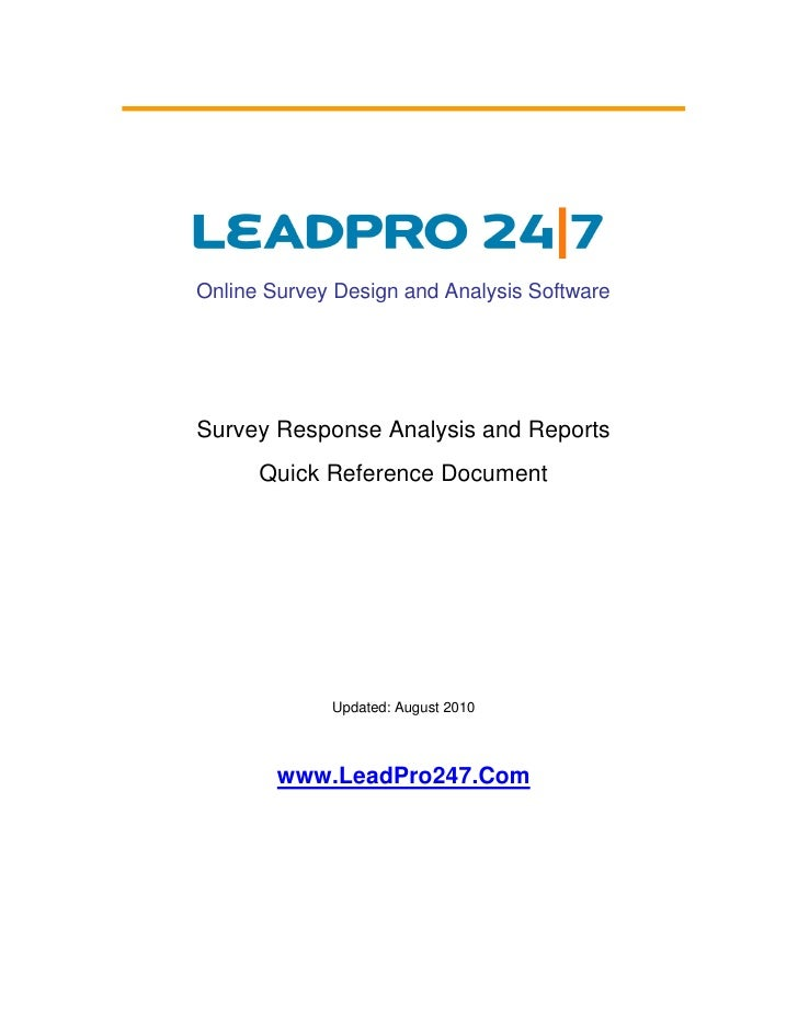 Online Survey Design and Analysis Software     Survey Response Analysis and Reports       Quick Reference Document        ...