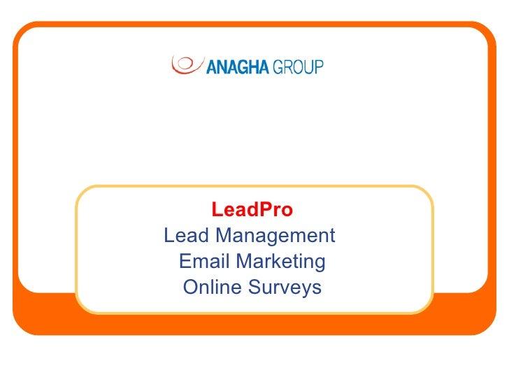 LeadPro Lead Management  Email Marketing   Online Surveys