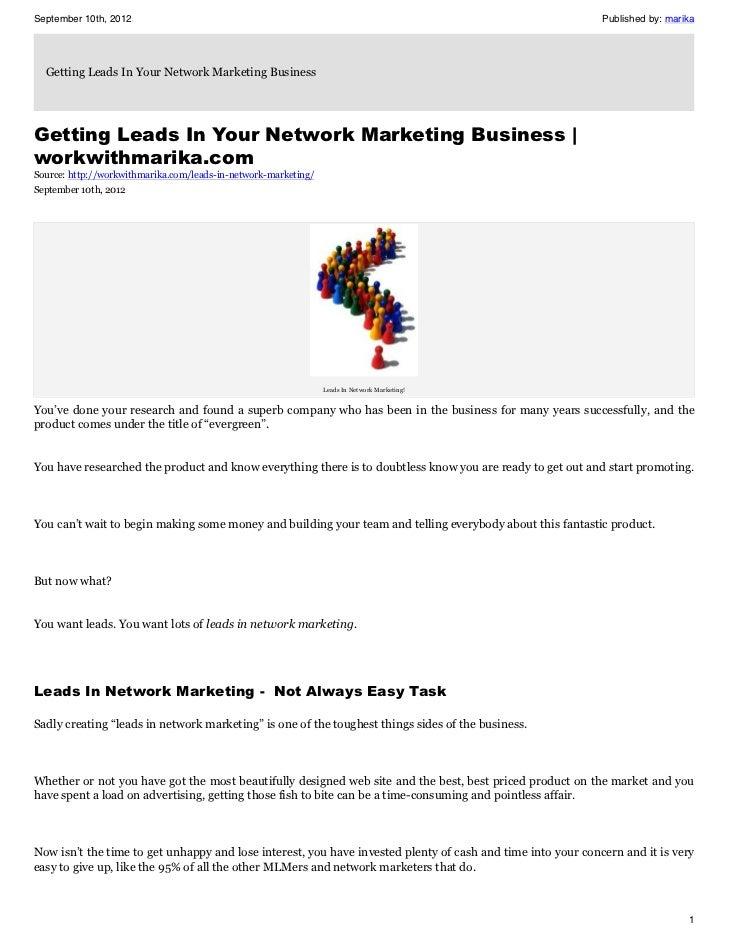 Leads in-network-marketing