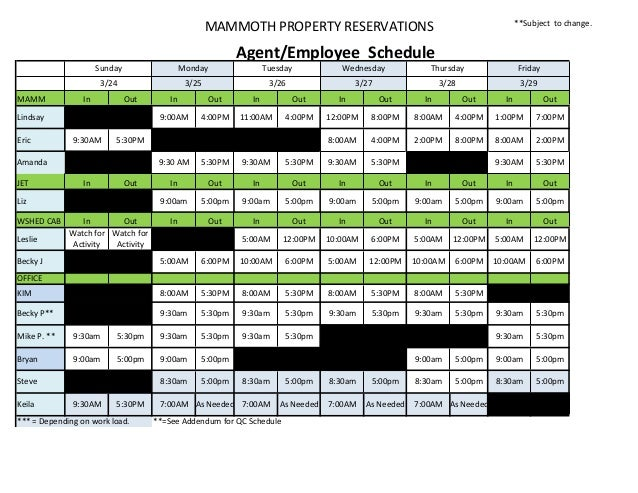 MAMMOTH	   PROPERTY	   RESERVATIONS  **Subject	   	   to	   change.	     	   Agent/Employee	   	   Schedule Sunday  Monday...