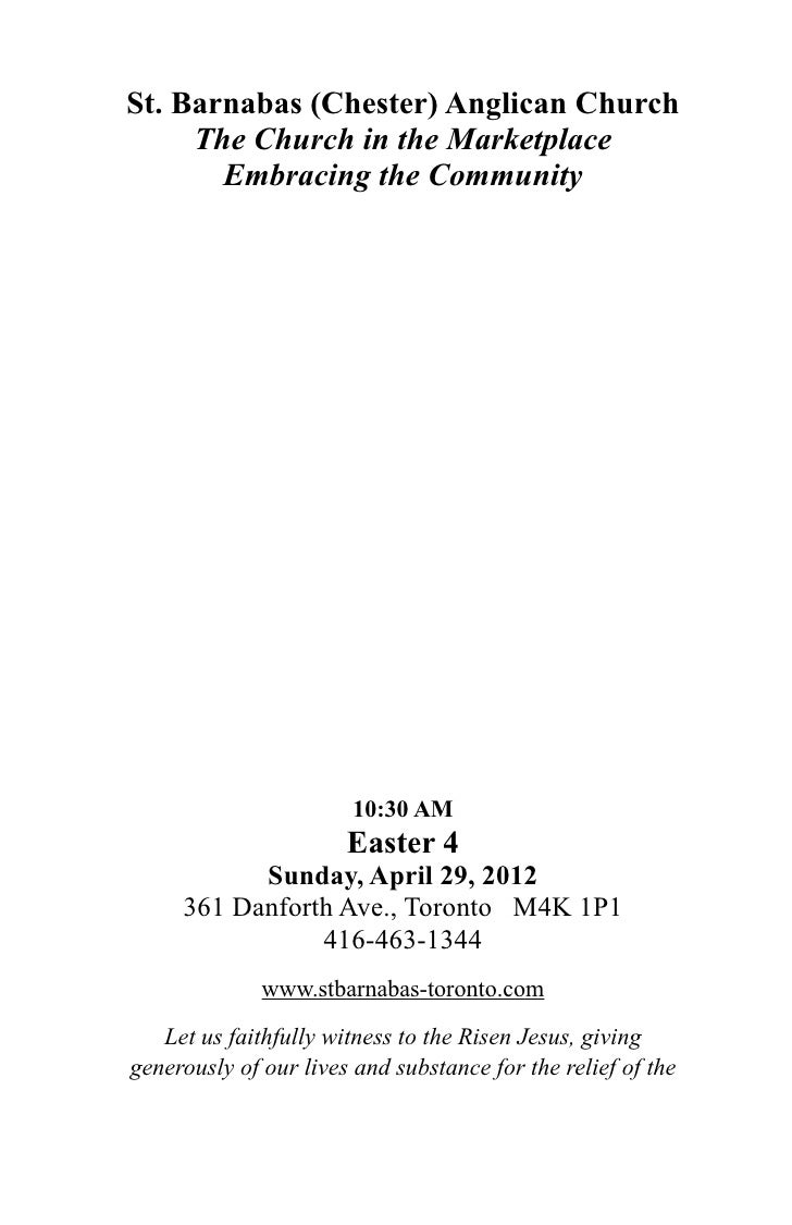 Leaflet for Sunday 29 April, 2012 - Easter 4