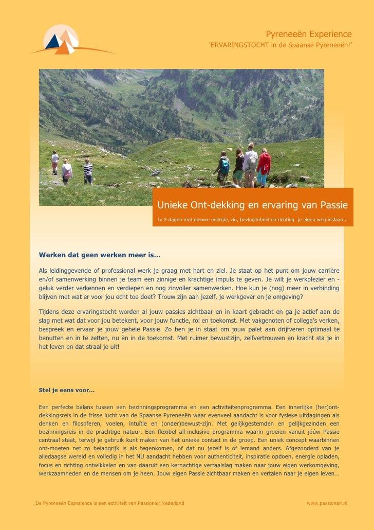 Leaflet Ervaringstocht In De Spaanse PyerneeëN Brochure