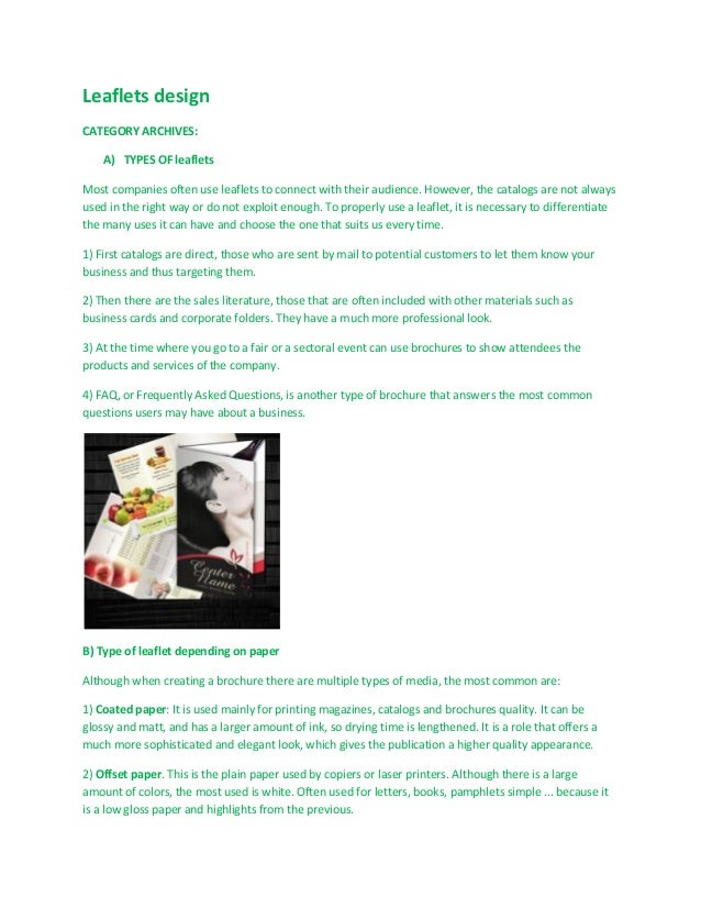 Leaflets design CATEGORY ARCHIVES: A) TYPES OF leaflets Most companies often use leaflets to connect with their audience. ...