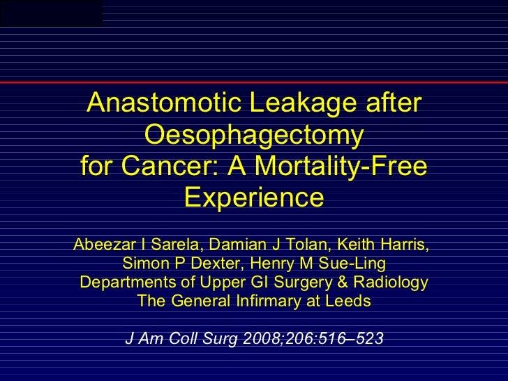Leakage after oesophagectomy