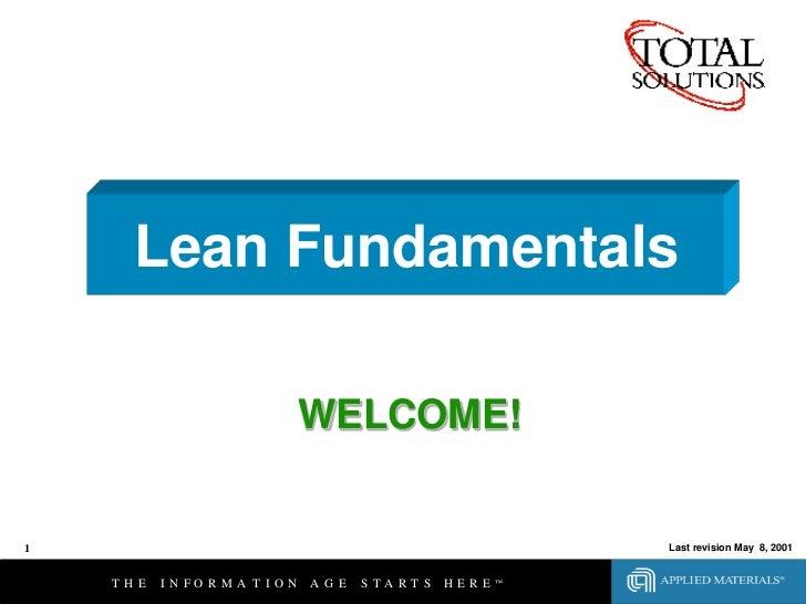 Lean Fundamentals                                WELCOME!1                                                              La...